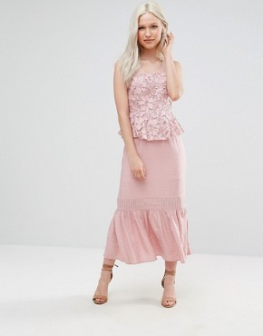 photo Primrose Lace Midi Dress with Peplum by Foxiedox, color Pink - Image 1