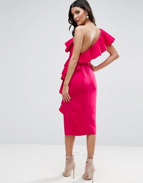 photo Ruffle One Shoulder Midi Dress by ASOS PREMIUM, color Hot Pink - Image 2