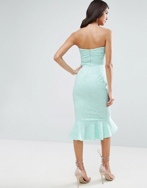 photo Lace Bandeau Pephem Midi Dress by ASOS, color Mint - Image 2