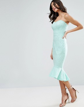 photo Lace Bandeau Pephem Midi Dress by ASOS, color Mint - Image 1