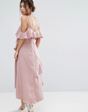photo All Over Ruffle Detail Cami Maxi Dress by True Decadence Petite, color Dusty Rose - Image 2