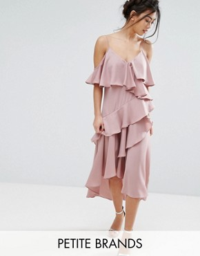photo All Over Ruffle Detail Cami Maxi Dress by True Decadence Petite, color Dusty Rose - Image 1