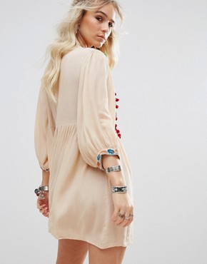 photo Pom Pom Mirror Embroidered Swing Dress by Glamorous Petite, color Cream - Image 2