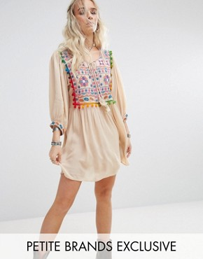 photo Pom Pom Mirror Embroidered Swing Dress by Glamorous Petite, color Cream - Image 1