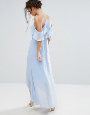 photo Frill Cold Shoulder Cami Maxi Dress with Ruffle Hem Detail by True Decadence Petite, color Ice Blue - Image 2
