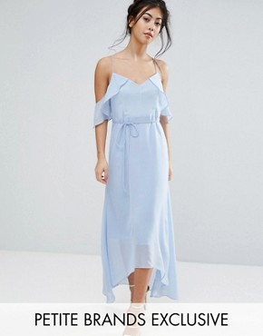 photo Frill Cold Shoulder Cami Maxi Dress with Ruffle Hem Detail by True Decadence Petite, color Ice Blue - Image 1