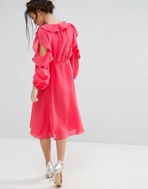 photo Cold Shoulder Wrap Front Ruffle Detail Skater Dress by True Decadence Petite, color Coral - Image 2