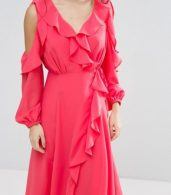 photo Cold Shoulder Wrap Front Ruffle Detail Skater Dress by True Decadence Petite, color Coral - Image 3