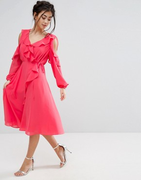 photo Cold Shoulder Wrap Front Ruffle Detail Skater Dress by True Decadence Petite, color Coral - Image 4