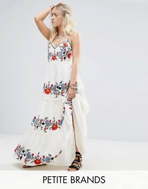photo Floral Embroidered Cami Maxi Dress by Glamorous Petite, color Multi - Image 1