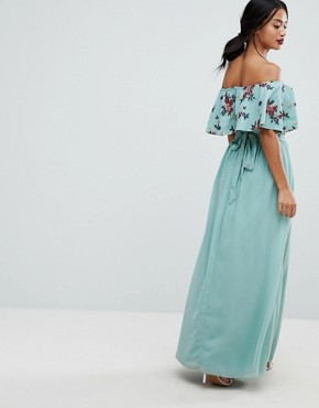 photo Floral Embroidered Off Shoulder Maxi Dress by Little Mistress Petite, color Sage - Image 2