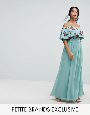photo Floral Embroidered Off Shoulder Maxi Dress by Little Mistress Petite, color Sage - Image 1
