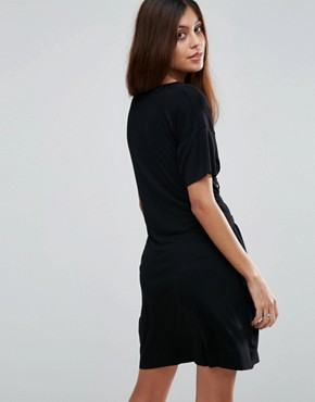 photo Corset Detail T-Shirt Dress by ASOS, color Black - Image 2