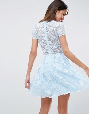 photo Lace Skater Mini T-Shirt Dress by ASOS, color Baby Blue - Image 2