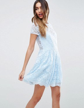 photo Lace Skater Mini T-Shirt Dress by ASOS, color Baby Blue - Image 1