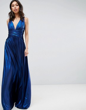 photo Pleated Maxi Dress by Forever Unique, color Sax Blue - Image 2