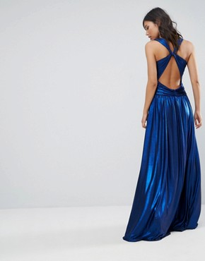 photo Pleated Maxi Dress by Forever Unique, color Sax Blue - Image 1