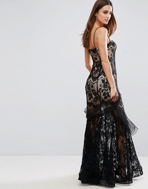 photo Lace Strappy Maxi Dress with Sheer Detailing by Forever Unique, color Black - Image 2