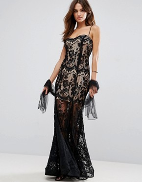 photo Lace Strappy Maxi Dress with Sheer Detailing by Forever Unique, color Black - Image 1
