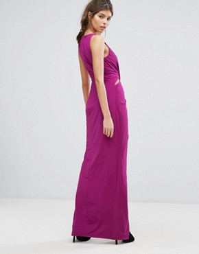 photo Wrap Thigh High Split Maxi Dress by Forever Unique, color Magenta - Image 2