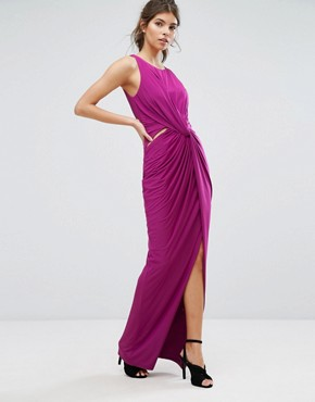 photo Wrap Thigh High Split Maxi Dress by Forever Unique, color Magenta - Image 1