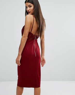 photo Laced Top Midi Bodycon Dress by Forever Unique, color Oxblood Red - Image 2