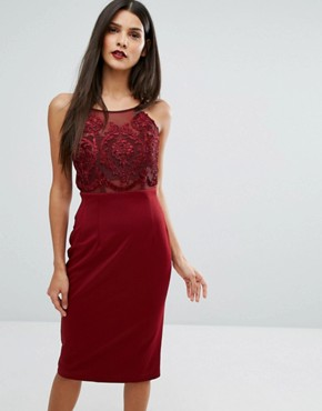 photo Laced Top Midi Bodycon Dress by Forever Unique, color Oxblood Red - Image 1