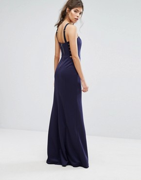 photo Racer Waisted Maxi Dress by Forever Unique, color Navy - Image 2