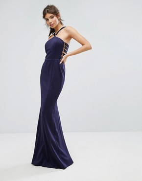 photo Racer Waisted Maxi Dress by Forever Unique, color Navy - Image 1