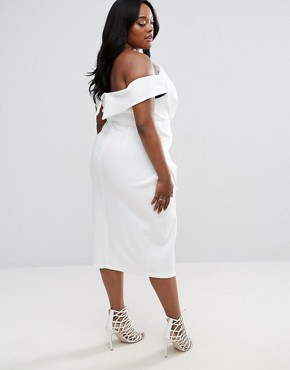 photo Bow Front Twist Off The Shoulder Midi Scuba Dress by ASOS CURVE PREMIUM, color Ivory - Image 2