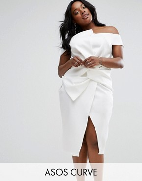 photo Bow Front Twist Off The Shoulder Midi Scuba Dress by ASOS CURVE PREMIUM, color Ivory - Image 1