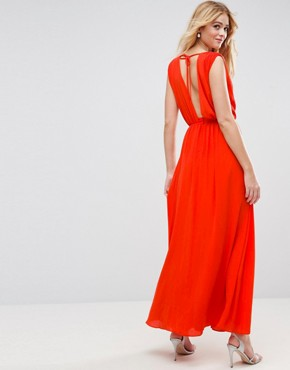 photo Deep Plunge Embellished Waist Maxi Dress by ASOS, color Hot Red - Image 2