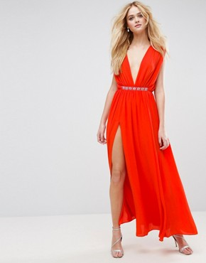 photo Deep Plunge Embellished Waist Maxi Dress by ASOS, color Hot Red - Image 1