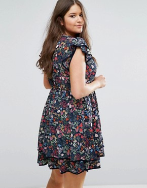 photo Skater Dress with Frill Hem in Garden Floral Print by Koko Plus, color Navy Floral Print - Image 2