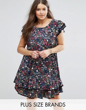 photo Skater Dress with Frill Hem in Garden Floral Print by Koko Plus, color Navy Floral Print - Image 1