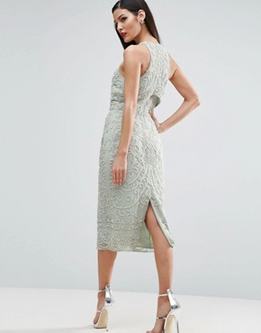 photo Crop Top Embroidered Pearl Midi Dress by ASOS RED CARPET, color Mint - Image 2