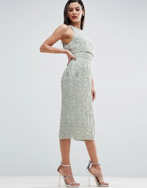 photo Crop Top Embroidered Pearl Midi Dress by ASOS RED CARPET, color Mint - Image 1