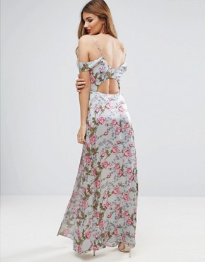 photo Rose Floral Cold Shoulder Satin Maxi Dress by ASOS, color Multi - Image 2