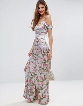 photo Rose Floral Cold Shoulder Satin Maxi Dress by ASOS, color Multi - Image 1