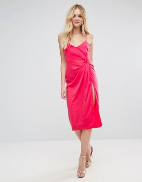 photo Hammered Satin Strappy Pencil Midi Dress by ASOS, color Pink - Image 4