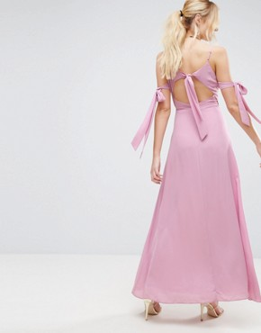 photo Cold Shoulder Bow Cami Maxi Dress by ASOS, color Dusky Pink - Image 2