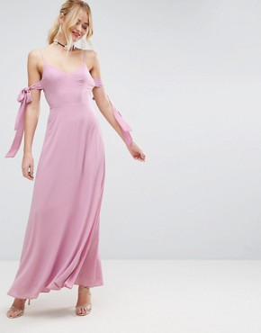 photo Cold Shoulder Bow Cami Maxi Dress by ASOS, color Dusky Pink - Image 1