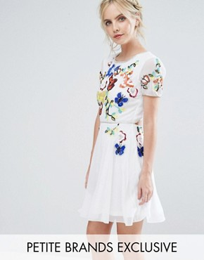 photo Premium Embellished Top Mini Prom Skater Dress by Frock and Frill Petite, color White - Image 1