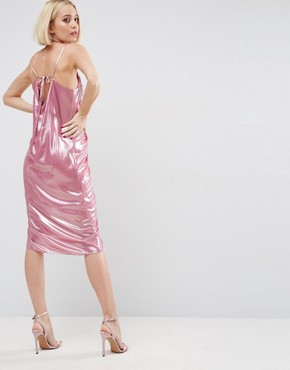 photo Ruched Slip Dress in Metallic Fabric by ASOS, color Pink - Image 2