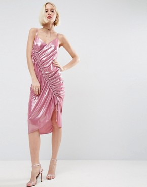 photo Ruched Slip Dress in Metallic Fabric by ASOS, color Pink - Image 1