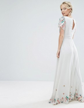 photo Premium Floral Embellished Top Maxi Dress by Frock and Frill Petite, color Mint - Image 2