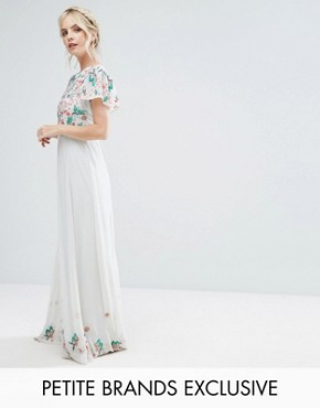 photo Premium Floral Embellished Top Maxi Dress by Frock and Frill Petite, color Mint - Image 1