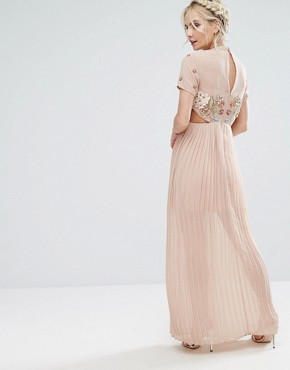 photo Premium Embellished Top Maxi Dress with Pleated Skirt by Frock and Frill Petite, color Nude - Image 2