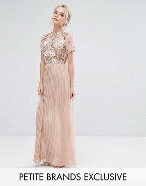 photo Premium Embellished Top Maxi Dress with Pleated Skirt by Frock and Frill Petite, color Nude - Image 1