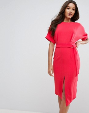 photo Wiggle Dress with Split Front with D-Ring Belt by ASOS, color Coral - Image 1